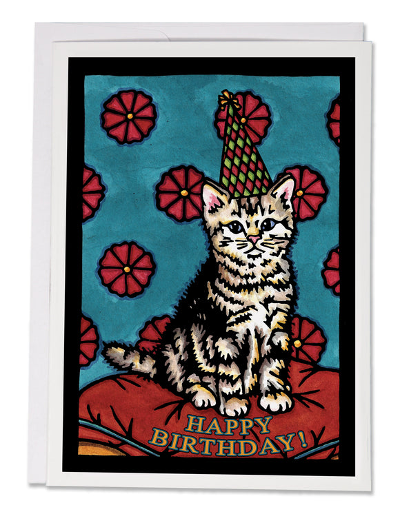SA160: Birthday Kitten - Sarah Angst Art Greeting Cards, Giclee Prints, Jewelry, More