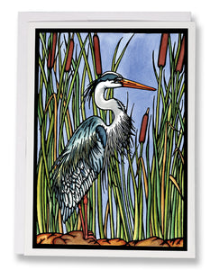 SA162: Blue Heron - Sarah Angst Art Greeting Cards, Giclee Prints, Jewelry, More