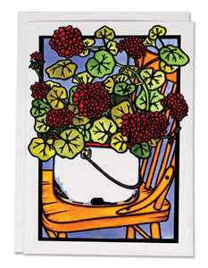 SA167: Geraniums - Sarah Angst Art Greeting Cards, Giclee Prints, Jewelry, More