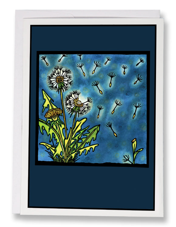 SA169: Dandelion - Sarah Angst Art Greeting Cards, Giclee Prints, Jewelry, More
