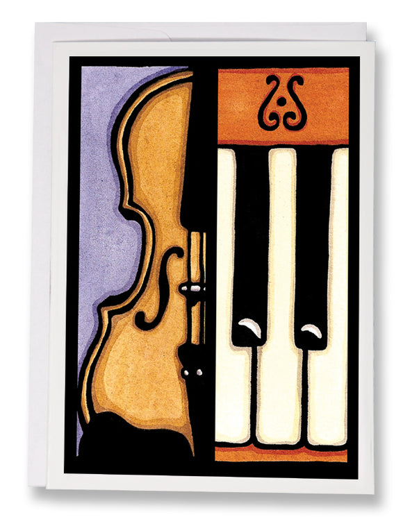 SA181: Violin & Piano - Sarah Angst Art Greeting Cards, Giclee Prints, Jewelry, More
