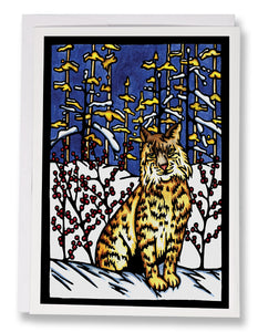 SA183: Bobcat in Snow - Sarah Angst Art Greeting Cards, Giclee Prints, Jewelry, More