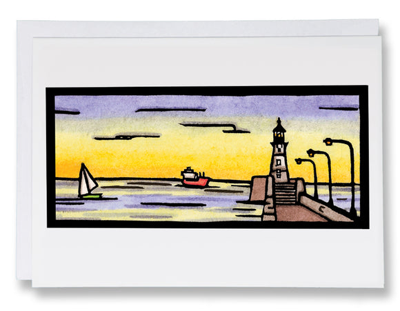 SA186: The Pier - Sarah Angst Art Greeting Cards, Giclee Prints, Jewelry, More