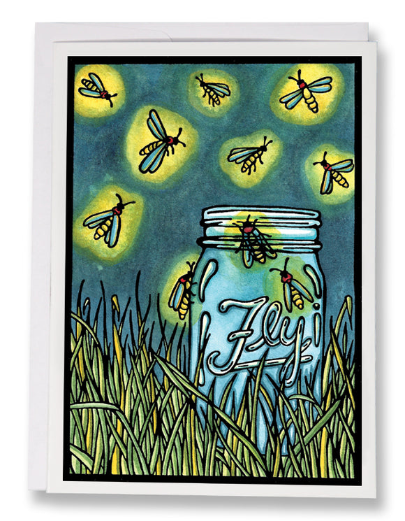 SA190: Fireflies - Sarah Angst Art Greeting Cards, Giclee Prints, Jewelry, More