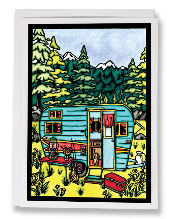 SA192: Camping - Sarah Angst Art Greeting Cards, Giclee Prints, Jewelry, More
