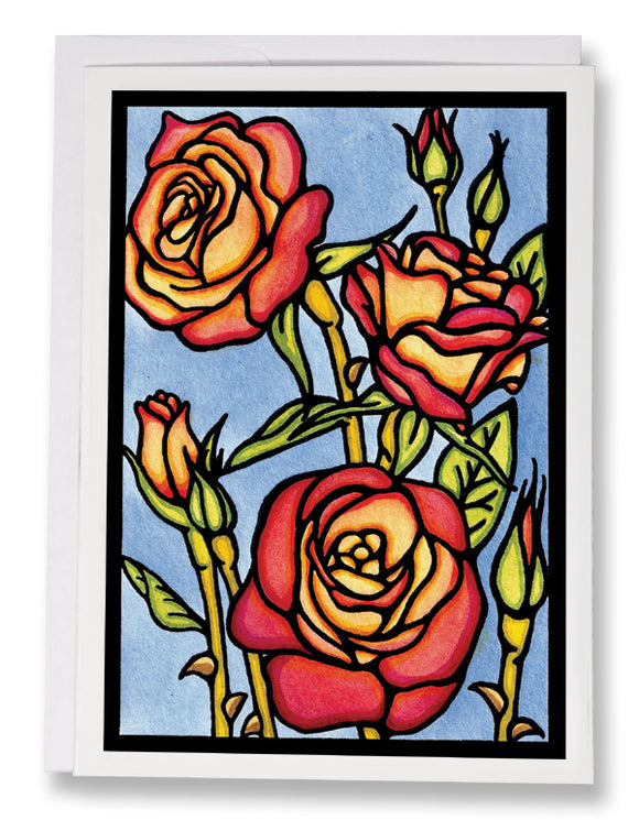 SA195: Roses - Sarah Angst Art Greeting Cards, Giclee Prints, Jewelry, More