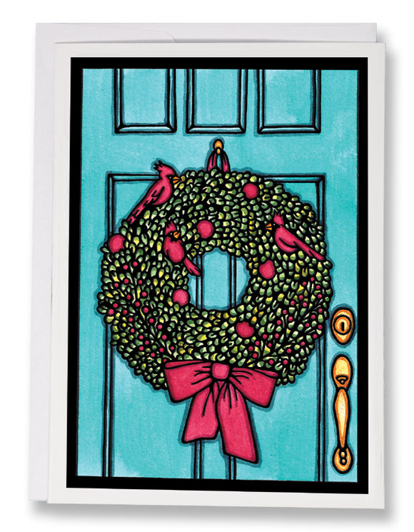 SA196: Wreath - Sarah Angst Art Greeting Cards, Giclee Prints, Jewelry, More