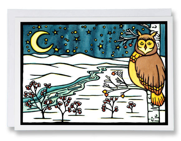 Winter Owl - 208 - Sarah Angst Art Greeting Cards, Giclee Prints, Jewelry, More
