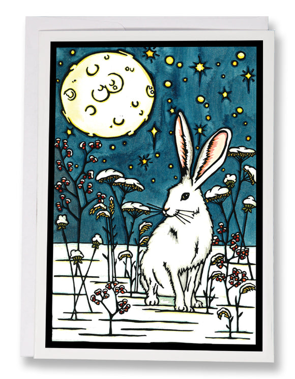 Winter Rabbit - 209 - Sarah Angst Art Greeting Cards, Giclee Prints, Jewelry, More