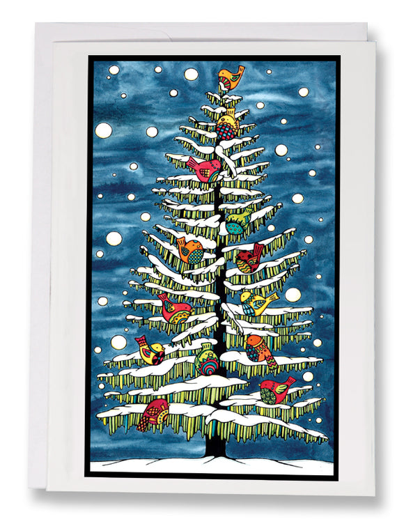 Birds in Snow - 210 - Sarah Angst Art Greeting Cards, Giclee Prints, Jewelry, More