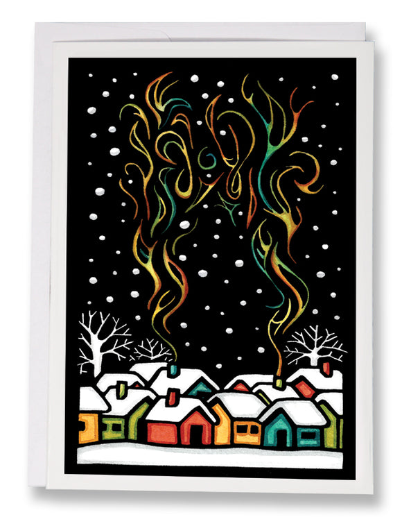 Winter Cabins - Sarah Angst Art Greeting Cards, Giclee Prints, Jewelry, More
