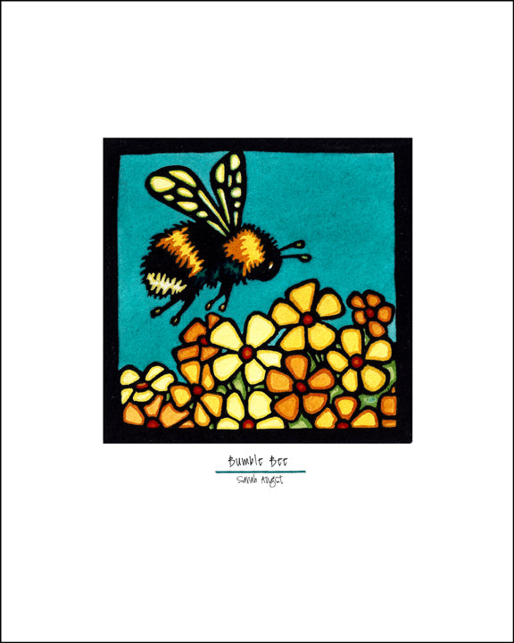 Bumble Bee - Simple Giclee Print - Sarah Angst Art Greeting Cards, Giclee Prints, Jewelry, More