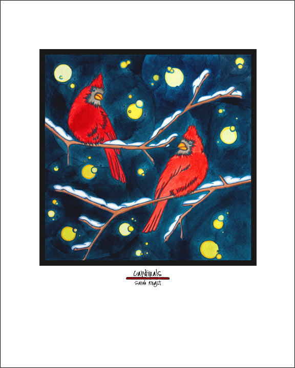 Cardinals - Simple Giclee Print - Sarah Angst Art Greeting Cards, Giclee Prints, Jewelry, More