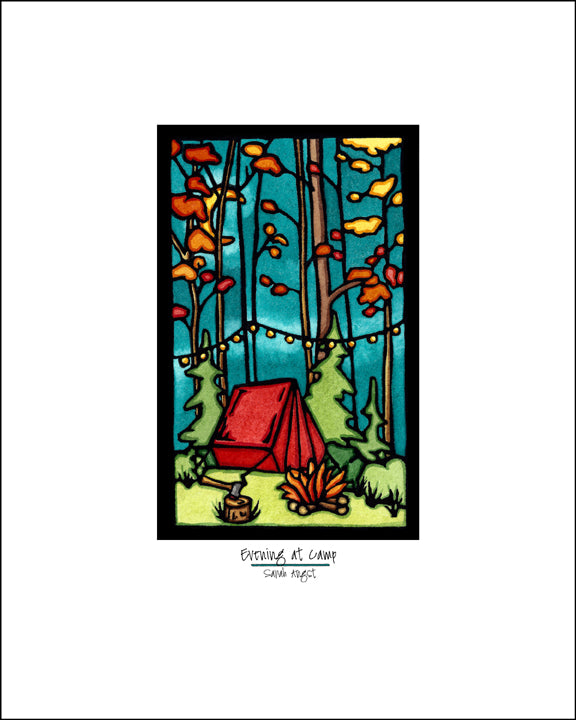 Evening at Camp - Simple Giclee Print - Sarah Angst Art Greeting Cards, Giclee Prints, Jewelry, More