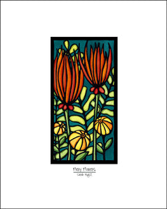 Fiery Flowers - Simple Giclee Print - Sarah Angst Art Greeting Cards, Giclee Prints, Jewelry, More