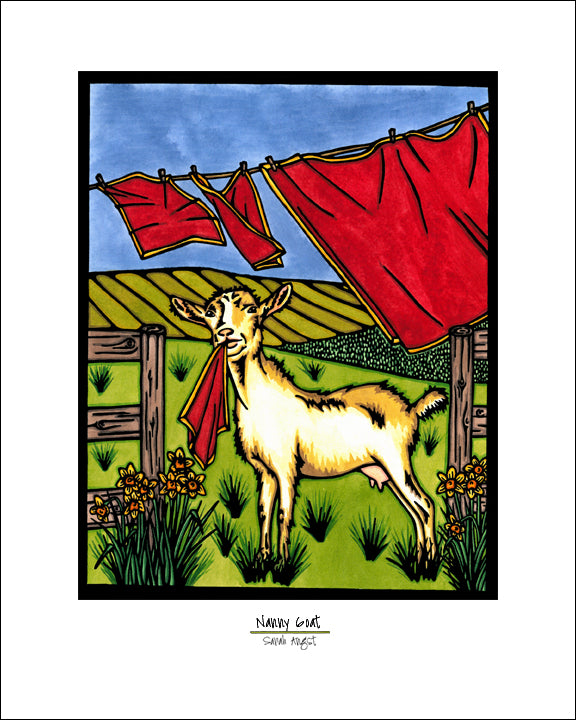 Nanny Goat - Simple Giclee Print - Sarah Angst Art Greeting Cards, Giclee Prints, Jewelry, More