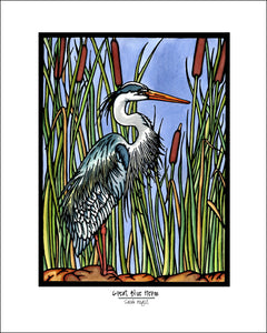 Blue Heron - Simple Giclee Print - Sarah Angst Art Greeting Cards, Giclee Prints, Jewelry, More