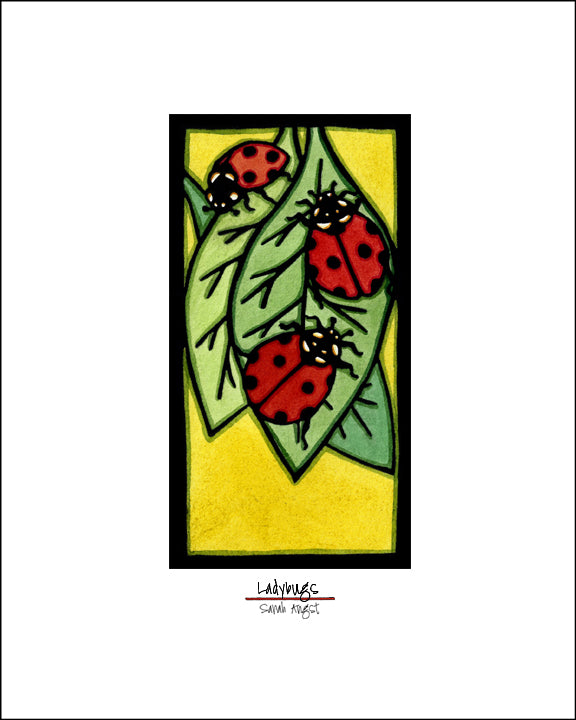 Ladybugs - Simple Giclee Print - Sarah Angst Art Greeting Cards, Giclee Prints, Jewelry, More