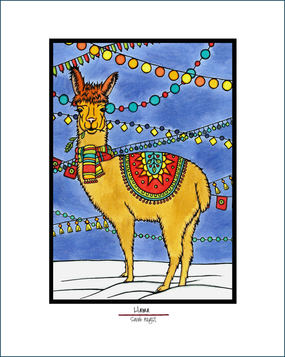 Llama - Simple Giclee Print - Sarah Angst Art Greeting Cards, Giclee Prints, Jewelry, More