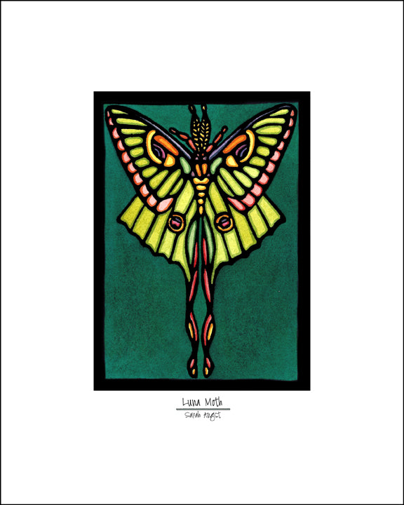 Luna Moth - Simple Giclee Print - Sarah Angst Art Greeting Cards, Giclee Prints, Jewelry, More
