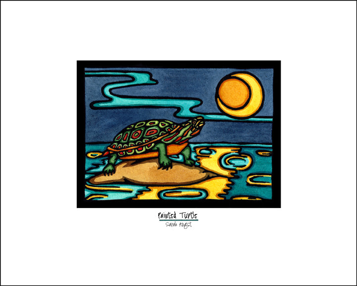 Painted Turtle - Simple Giclee Print - Sarah Angst Art Greeting Cards, Giclee Prints, Jewelry, More