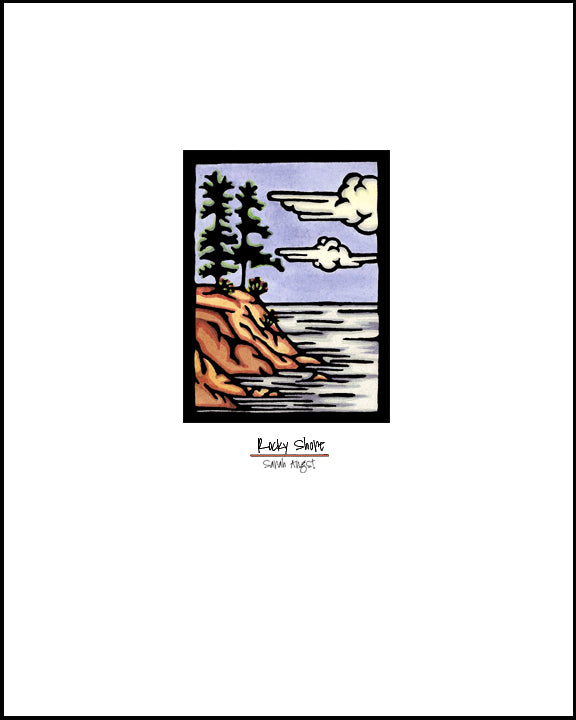Rocky Shore - Simple Giclee Print - Sarah Angst Art Greeting Cards, Giclee Prints, Jewelry, More