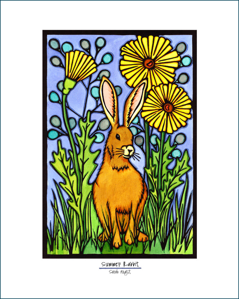 Summer Rabbit - Simple Giclee Print - Sarah Angst Art Greeting Cards, Giclee Prints, Jewelry, More
