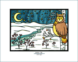 Winter Owl - Simple Giclee Print - Sarah Angst Art Greeting Cards, Giclee Prints, Jewelry, More