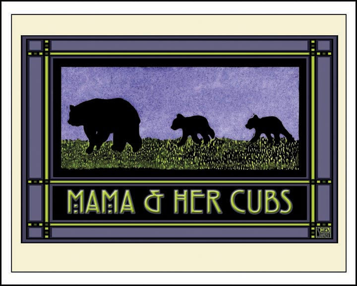 Mama & Her Cubs - Mission Style Giclee Print