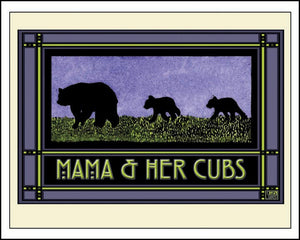 Mama & Her Cubs - Mission Style Giclee Print - Sarah Angst Art Greeting Cards, Giclee Prints, Jewelry, More