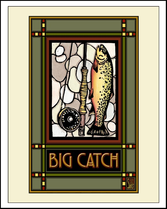 Big Catch - Mission Style Giclee Print - Sarah Angst Art Greeting Cards, Giclee Prints, Jewelry, More