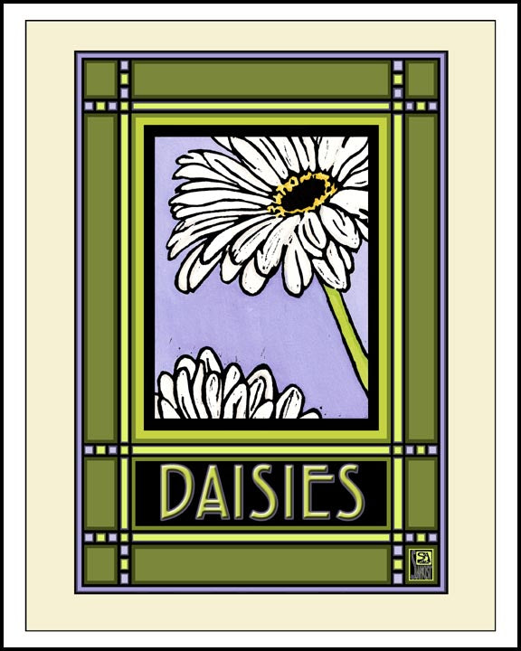 Daisies - Mission Style Giclee Print - Sarah Angst Art Greeting Cards, Giclee Prints, Jewelry, More