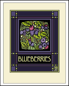 Blueberries - Mission Style Giclee Print