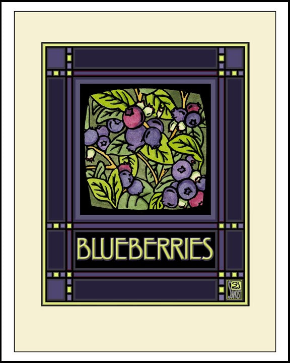 Blueberries - Mission Style Giclee Print - Sarah Angst Art Greeting Cards, Giclee Prints, Jewelry, More