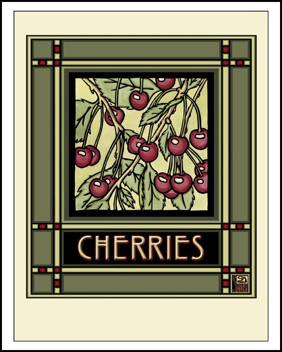 Cherries - Mission Style Giclee Print - Sarah Angst Art Greeting Cards, Giclee Prints, Jewelry, More