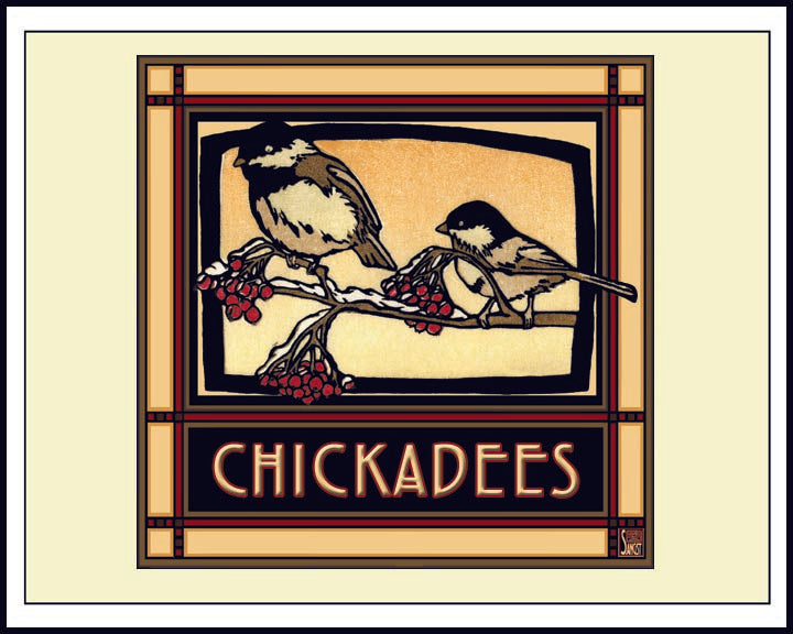 Chickadees - Mission Style Giclee Print - Sarah Angst Art Greeting Cards, Giclee Prints, Jewelry, More