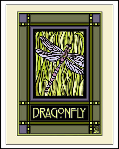 Dragonfly - Mission Style Giclee Print - Sarah Angst Art Greeting Cards, Giclee Prints, Jewelry, More