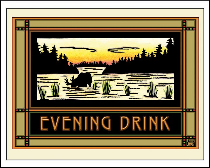 Evening Drink - Mission Style Giclee Print - Sarah Angst Art Greeting Cards, Giclee Prints, Jewelry, More