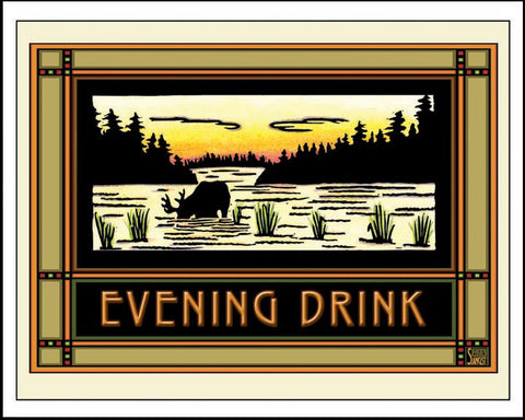 Evening Drink - Mission Style Giclee Print