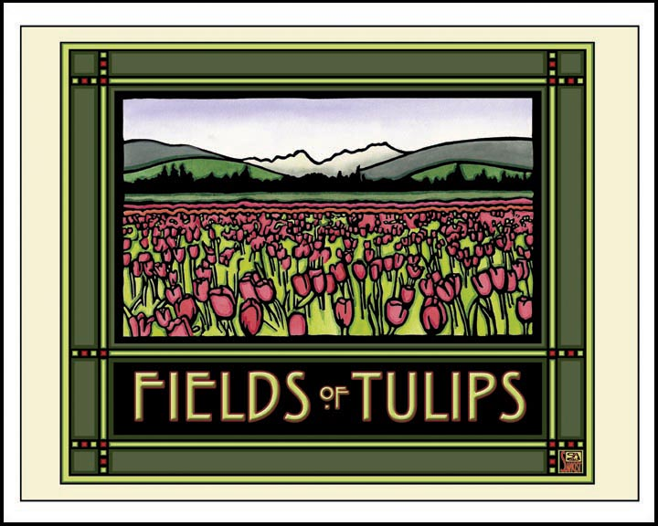 Field of Tulips - Mission Style Giclee Print