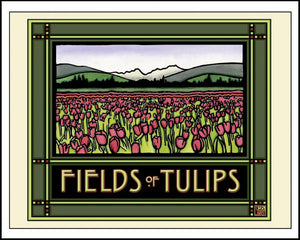 Field of Tulips - Mission Style Giclee Print - Sarah Angst Art Greeting Cards, Giclee Prints, Jewelry, More