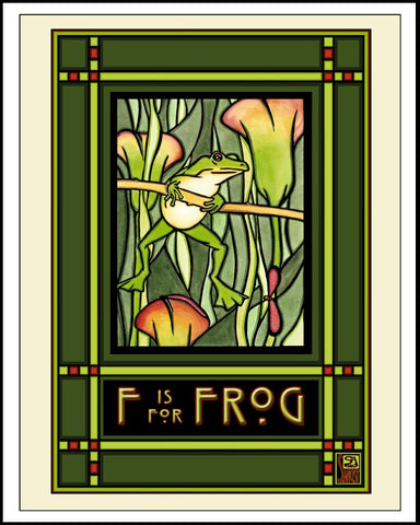 Frog - Mission Style Giclee Print - Sarah Angst Art Greeting Cards, Giclee Prints, Jewelry, More