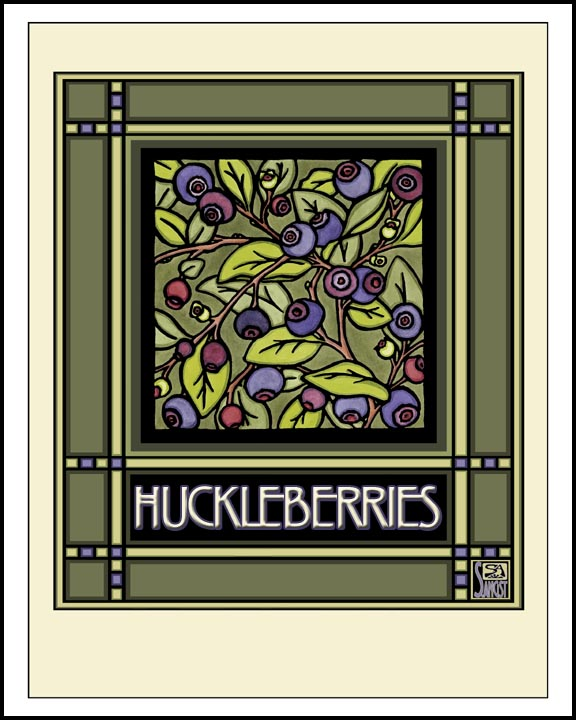 Huckleberries - Mission Style Giclee Print - Sarah Angst Art Greeting Cards, Giclee Prints, Jewelry, More