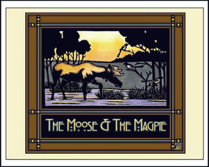 Moose & Magpie - Mission Style Giclee Print - Sarah Angst Art Greeting Cards, Giclee Prints, Jewelry, More