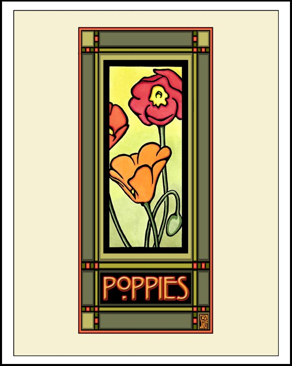 Poppies - Mission Style Giclee Print - Sarah Angst Art Greeting Cards, Giclee Prints, Jewelry, More