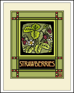 Strawberries - Mission Style Giclee Print - Sarah Angst Art Greeting Cards, Giclee Prints, Jewelry, More