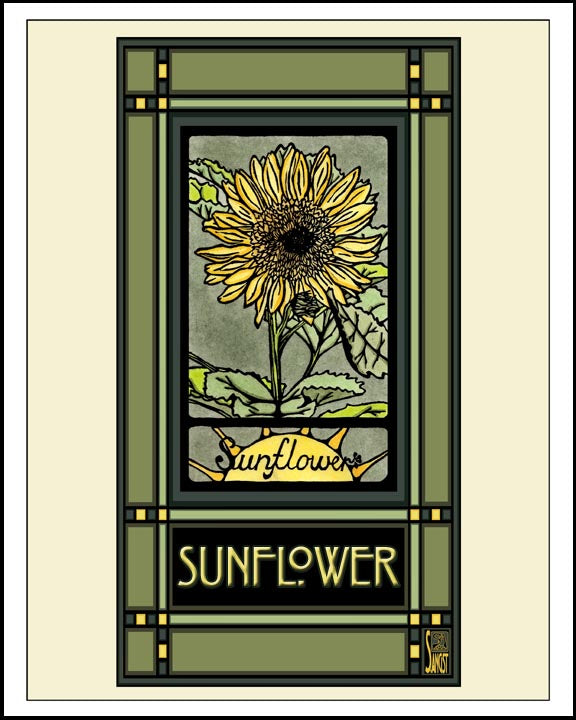 Sunflower - Mission Style Giclee Print - Sarah Angst Art Greeting Cards, Giclee Prints, Jewelry, More