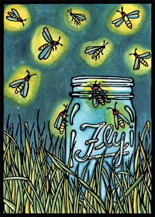Original - Fireflies - Sarah Angst Art Greeting Cards, Giclee Prints, Jewelry, More