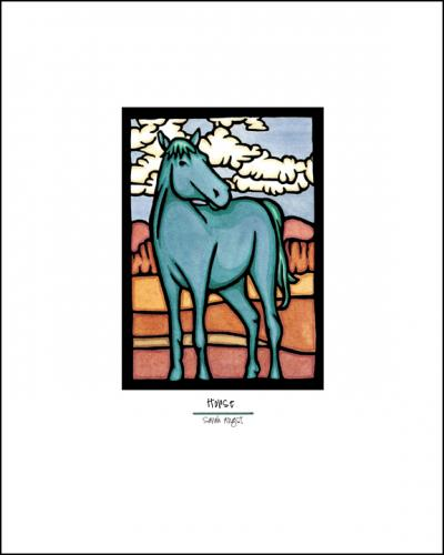 Blue Horse - Simple Giclee Print - Sarah Angst Art Greeting Cards, Giclee Prints, Jewelry, More