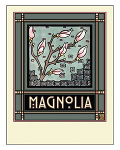 Magnolias - Mission Style Giclee Print - Sarah Angst Art Greeting Cards, Giclee Prints, Jewelry, More